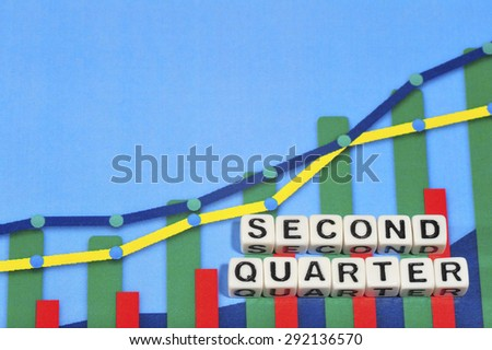 Business Term with Climbing Chart / Graph - Second Quarter - stock photo