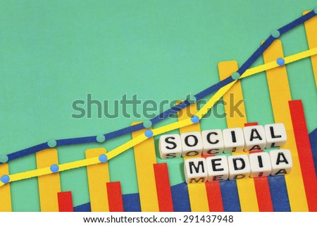 Business Term with Climbing Chart / Graph - Social Media - stock photo