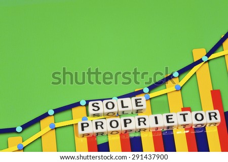 Business Term with Climbing Chart / Graph - Sole Proprietor - stock photo