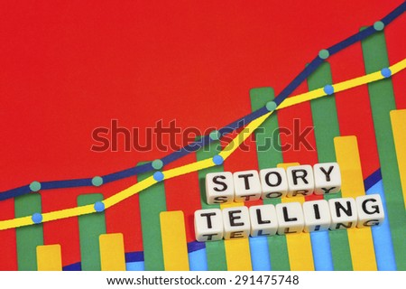 Business Term with Climbing Chart / Graph - Story Telling - stock photo