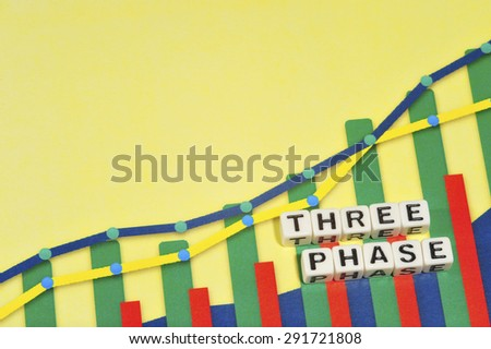 Business Term with Climbing Chart / Graph - Three Phase - stock photo