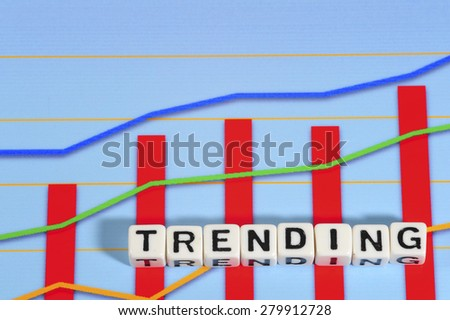 Business Term with Climbing Chart / Graph - Trending - stock photo
