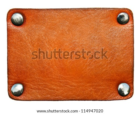 Business texture of leather blank brown label close up view isolated over white background, perspective and successful concept of promotion products and items - stock photo