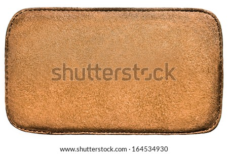 Business texture of leather light black and brown suede blank label close up view isolated over white background, perspective and successful concept of promotion products, yellow elements and items