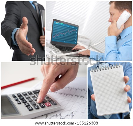 business theme photo collage - stock photo