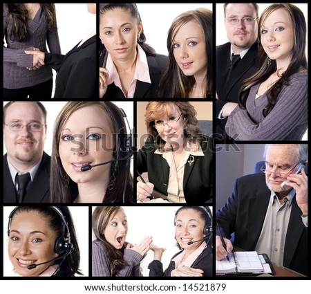 Business themed collage with several office and work situations - stock photo