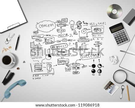 business things and scheme business strategy - stock photo