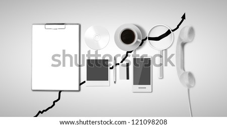 business things on gray background - stock photo