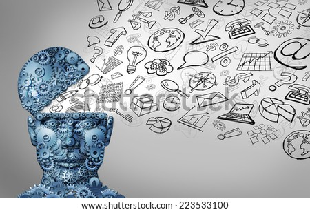 Business thinking and thinking businessman concept as an open human head made of gears and office icons spreading out as a symbol of financial intelligence and corporate education or seminar courses. - stock photo