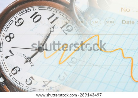 Business time concept. calculator, hand, clock and documents