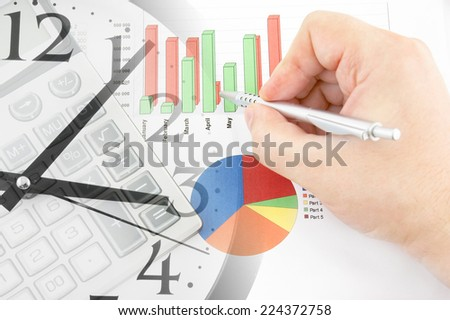 Business time concept. calculator, hand with pen, clock and documents  - stock photo