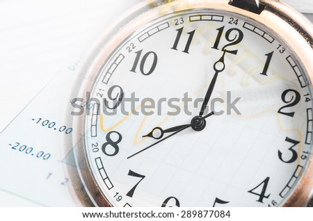 Business time concept. Clock, graph, pen and document.