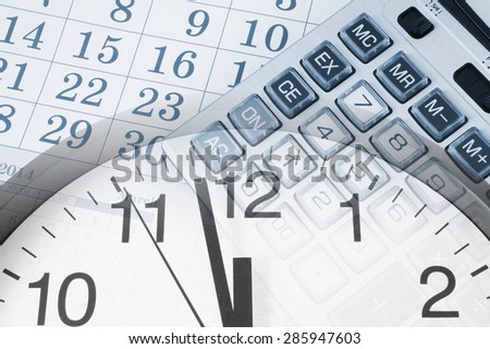 Business time concept with calendar and calculator