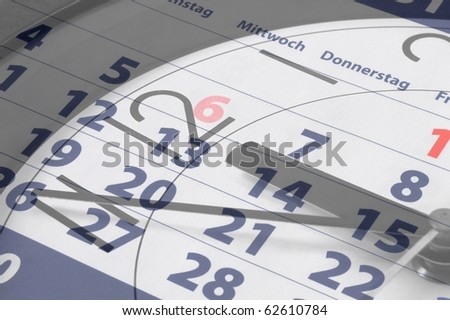 business time concept with watch and calendar - stock photo