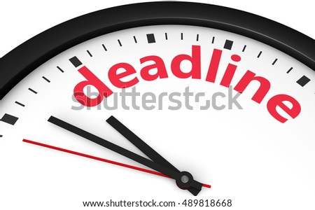 Business time limit concept with a clock and deadline word printed in red 3d illustration.