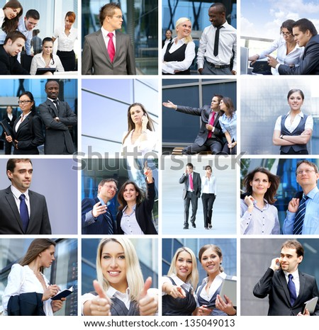 Business, time, money, people and success: collage made of many different pictures