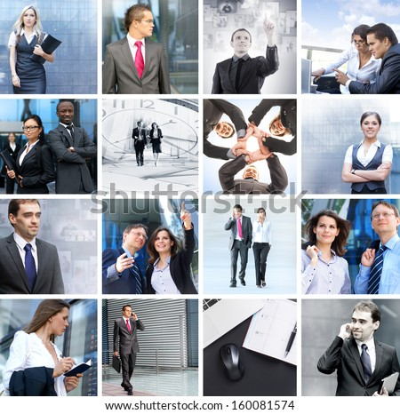 Business, time, money, people and success: collection made of many different pictures