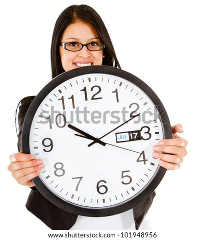 Business time with a woman holding a clock - isolated over white