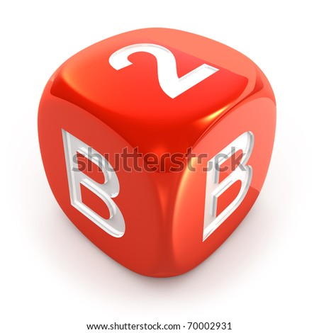 Business To Business Dice isolated on white - stock photo
