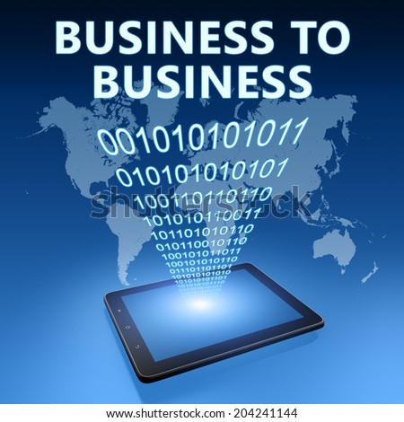 Business to Business illustration with tablet computer on blue background - stock photo