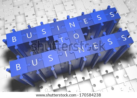 Business to Business - puzzle 3d render illustration - stock photo