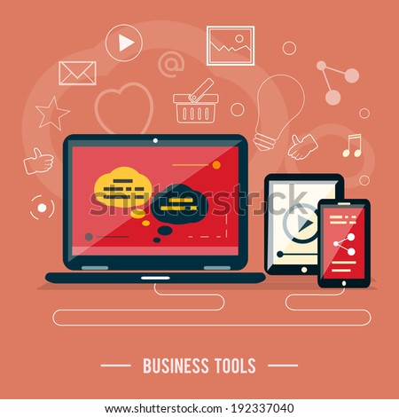 Business tools concept. Poster concept with icons of business tools, device  in flat design. Raster version