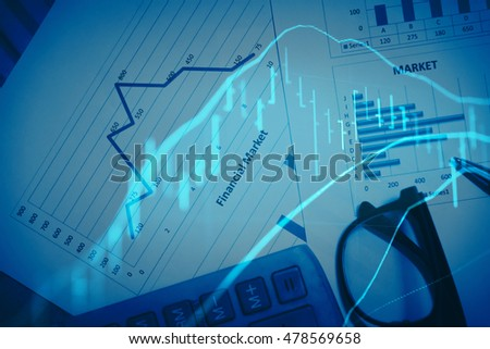Business Trading concept: Close-up computer monitor with trading software. Multiple exposure photography.