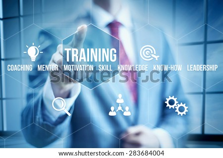 Business training concept, businessman selecting interface - stock photo