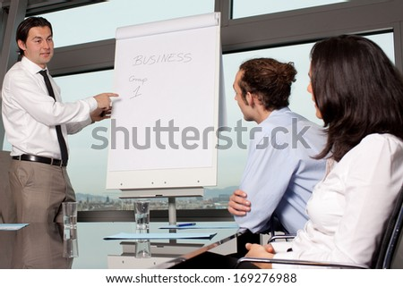 Business training in board room - stock photo