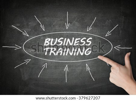 Business Training process information concept on blackboard with a hand pointing on it.