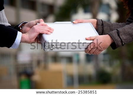 business transfer deal - stock photo