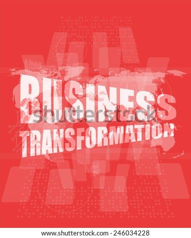 business transformation words on touch screen interface - stock photo