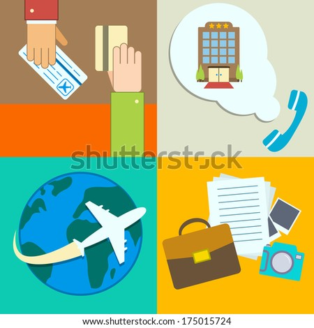 Business travel infographics icons set with hands of ticket purchase hotel booking and flight  illustration - stock photo