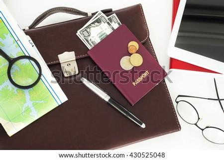 Business travel on white background