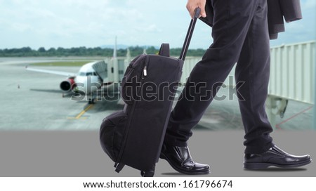 business travellers walking over the sea in the world - stock photo