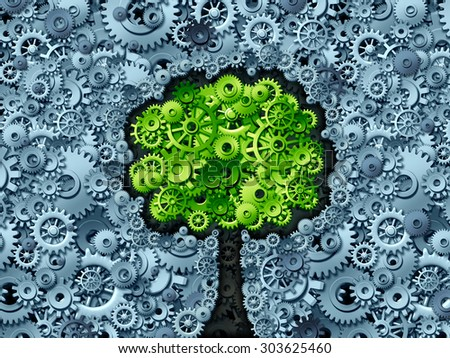 Business tree concept as a symbol for a growing economy and industry as machine gears and cog wheels shaped as a growing plant with green leaves as an icon of success in industry activity. - stock photo