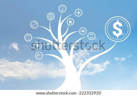 Business tree icon on the sky, business concept