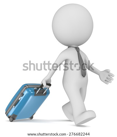 Business Trip. The dude 3D character walking with tie and blue modern suitcase. - stock photo