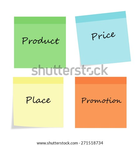 Business typography on stick note background design. Product, price, place, promotion. Marketing Series.