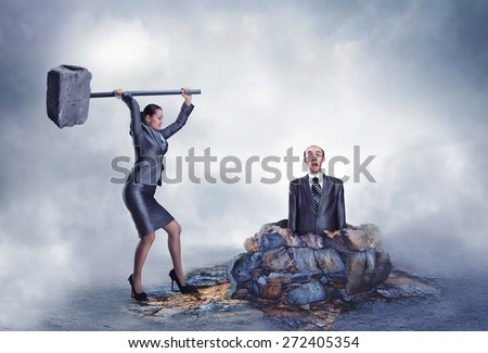 Business violence - stock photo