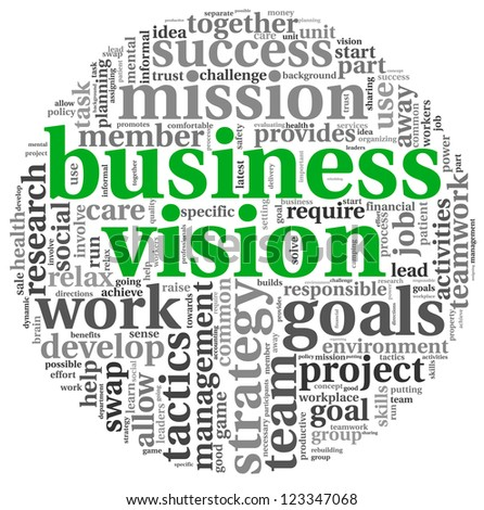 Business vision and strategy concept in word tag cloud