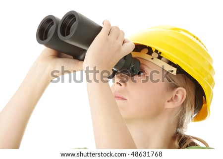 Business vision concept, engineer woman looking through binoculars, isolated on white - stock photo