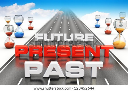 Business vision, perspective and time passing concept: past, present and future on long endless road with hourglasses towards blue sky with white clouds - stock photo