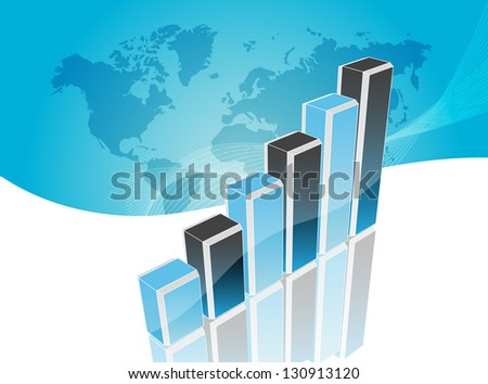 Business visit card with chart - stock photo
