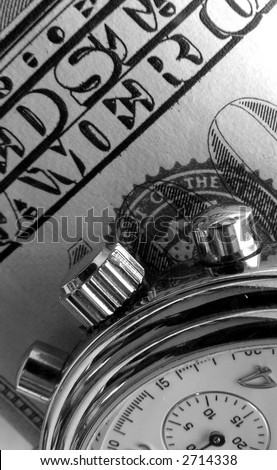 Business watch and bill of hundred dollars (background). - stock photo