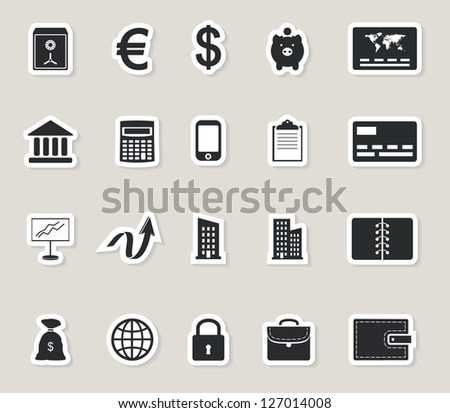 business web icons set. money and finance paper stickers. raster version, vector file also available in gallery - stock photo