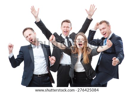 Business winners. Group of happy young people in formal wear celebrating, gesturing, keeping arms raised and expressing positivity. Isolated on white. - stock photo
