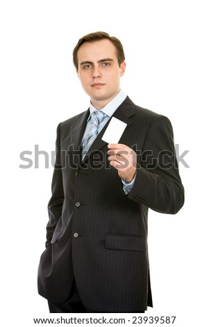 Business with a business card. Isolated on white. - stock photo