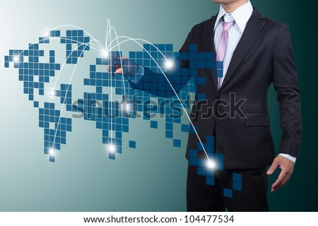 Business with Expansion on screen. - stock photo