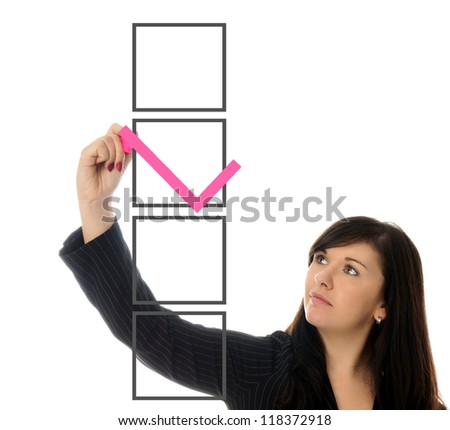 Business Woman and a check box / Business Woman - stock photo